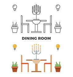 Dining room concept - flat style and line style vector