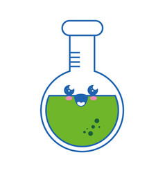Flask chemistry kawaii cartoon vector