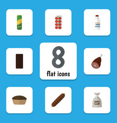 Flat icon meal set of bottle tomato smoked vector
