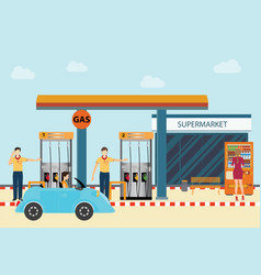 gas petroleum petrol refill station cars and vector image vector image