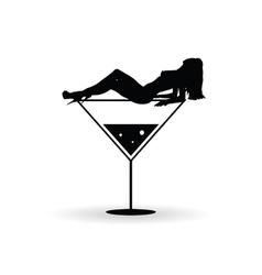 girl on martini glas silhouette vector image