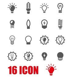 Grey bulbs icon set vector