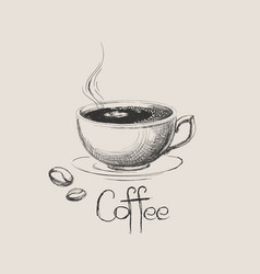 hand drawn coffee cup with beans isolated vector image