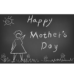 happy mothers day card on blackboard vector image vector image