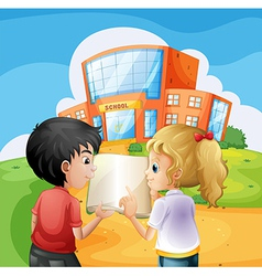 Kids arguing in front of the school building vector image vector image