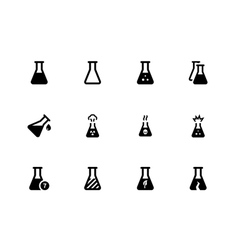 Laboratory flask icons on white background vector image vector image