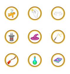 Magic icons set cartoon style vector