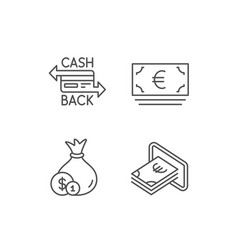 Money bag cashback and atm line icons vector