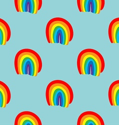 Rainbow seamless pattern hand drawn vector image