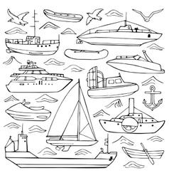 Sea transportation doodle set vector
