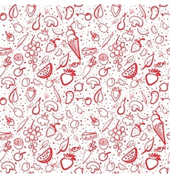 Seamless food pattern with vegetables and fruits vector image vector image