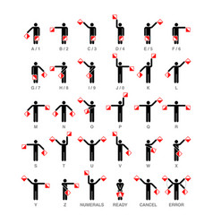 semaphore flag signals alphabet and numbers vector image vector image