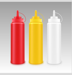 Set of white red yellow mustard ketchup bottle vector