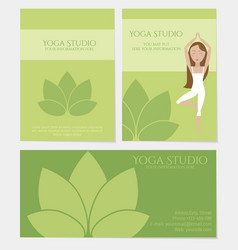 set of yoga studio business cards vector image vector image