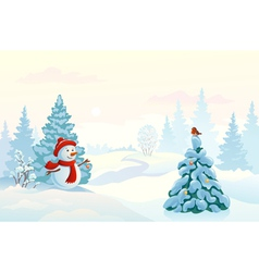 Snowman and a bird vector image vector image