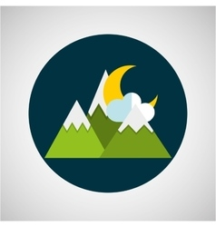 snowy mountains moon cloud weather concept design vector image vector image