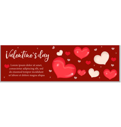 valentines day banner with realistic 3d heart vector image vector image