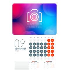 Wall calendar planner template for september 2018 vector