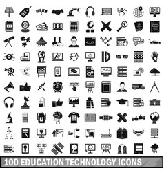 100 education technology icons set simple style vector