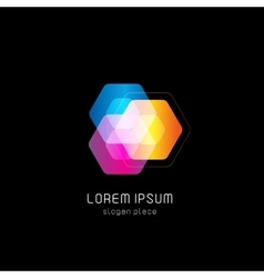 Isolated abstract colorful polygons logo vector