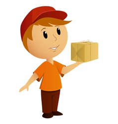 Delivery boy box vector