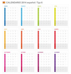Calendar 2014 Spain Type 6 vector image