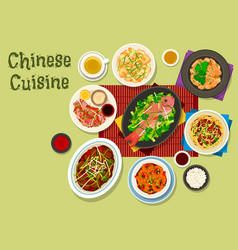 Chinese cuisine dinner icon for asian food design vector