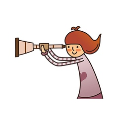 Side view of girl holding telescope vector