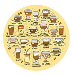 set of coffee beverage icon vector image