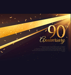 90th anniversary celebration card template vector