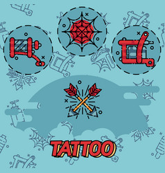 tattoo flat icons set vector image