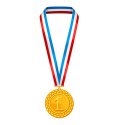 Realistic gold medal with multi colored ribbon vector