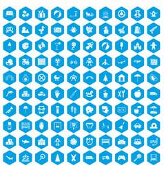 100 childhood icons set blue vector