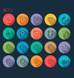 Round thin icon with shadow set 2 vector