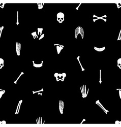 Human bones black seamless pattern eps10 vector