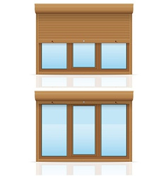Plastic window with rolling shutters 12 vector
