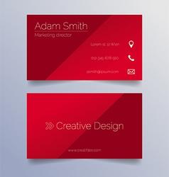 Business card template - sleek red design vector image