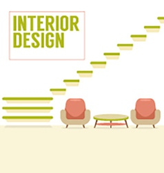 Interior design stairs with chairs set vector