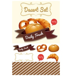 Dessert set with bread and bun vector