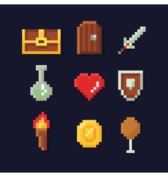 Pixel art isons for fantasy vector