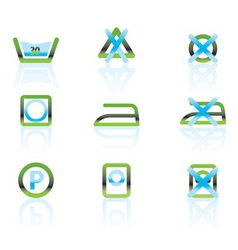 Laundry care and fabric symbols and icons vector