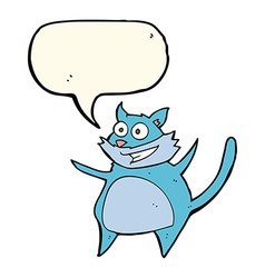 Funny cartoon cat with speech bubble vector