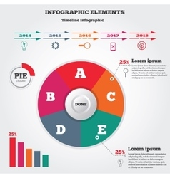 Infographics elements pie chart and timeline vector
