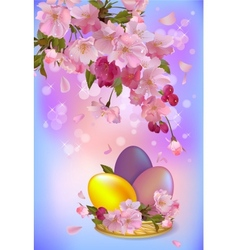 Easter greeting card with branch of flowers and vector