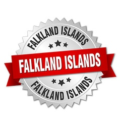 Falkland islands round silver badge with red vector