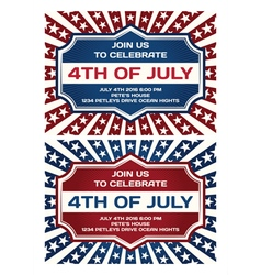 4th of July Invitation Card vector image