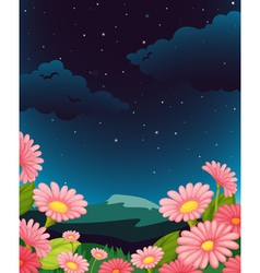 Evening floral fleid vector
