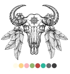 Animal skull coloring design vector image vector image
