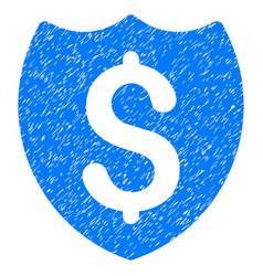Bank insurance shield grunge icon vector