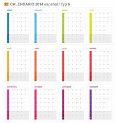 Calendar 2014 Spain Type 6 vector image vector image